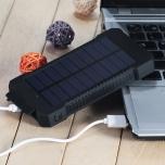 Akupank 8000 mAh päikesepaneeli ja LED taskulambiga (must)