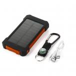 Аккумулятор 8000 мАч с солнечной панелью и светодиодным фонариком (оранжевый)