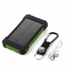 Battery bank 8000 mAh with solar panel and LED flashlight (green)