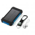 Akupank 8000 mAh päikesepaneeli ja LED taskulambiga (sinine)
