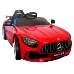 Electrical car for children Mercedes GTR Red, leather seat, soft wheels