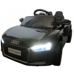 Electrical car R8 Spyder Black, soft wheels, leather seat