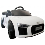 Electrical car R8 Spyder (White), soft wheels, leather seat