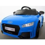 Электромобиль Audi TT RS (синий) - с мягкими колесами и кожаным сиденьем