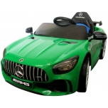 Electrical car for children Mercedes GTR Green, leather seat, soft wheels