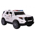 """Electric car JEEP """"POLICE"""" (white) - soft wheels, soft seat"""